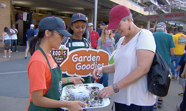 Roots for the Home Team participants selling salads at a Minnesota Twins ball game