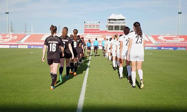 USL Experience girls soccer teams walking across Phoenix Rising FC field