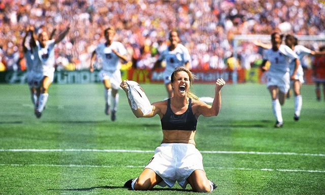 BAWSI co-founder Brandi Chastain celebrating her winning penalty kick in the 1999 Women's World Cup