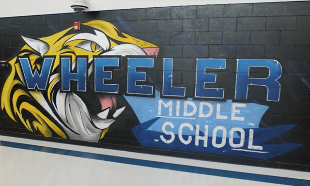 Wall mural of the Tiger mascot at Wheeler Middle School in Oklahoma City