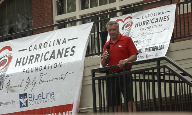 Don Waddell shown speaking at a Carolina Hurricanes Foundation event during the Power of Sports.