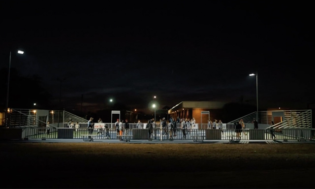 An Oklahoma City futsal court built by Fields & Futures lit up at night
