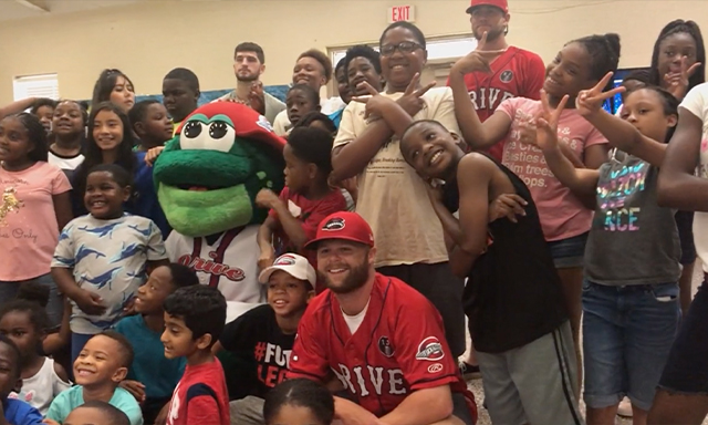 Reading All-Stars in South Carolina celebrate with the Greenville Drive.