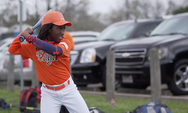 A child participates in a Houston Astros Youth Academy clinic in Texas.