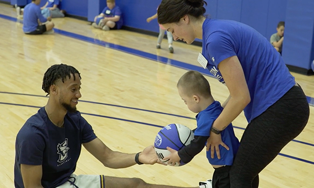 A child plays at the Creighton Abilities Camp hosted in Nebraska.